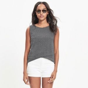 NWOT Madewell Striped Crossover Tank Black Gray